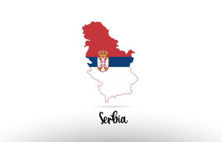 Serbia country flag inside country border map design suitable for a logo icon design Logo