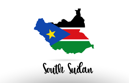 South Sudan country flag inside country border map design suitable for a logo icon design