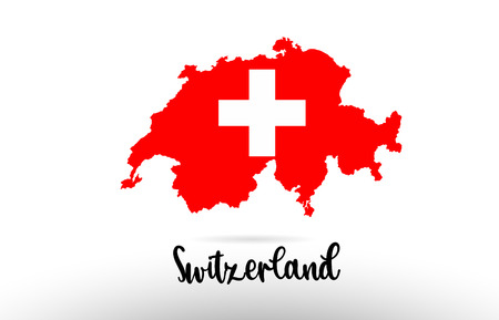 Switzerland country flag inside country border map design suitable for a logo icon design Illustration