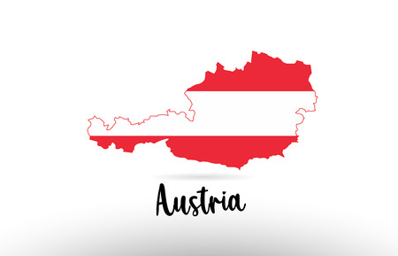 Austria country flag inside country border map design suitable for a logo icon design