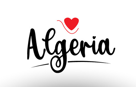 Algeria country text with red love heart suitable for a logo icon or typography design