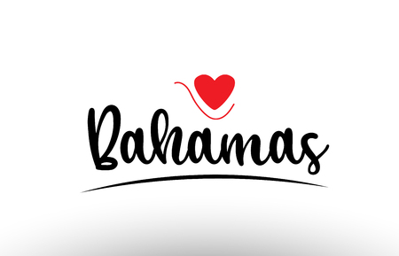 Bahamas country text with red love heart suitable for a logo icon or typography design
