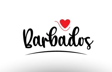 Barbados country text with red love heart suitable for a logo icon or typography design