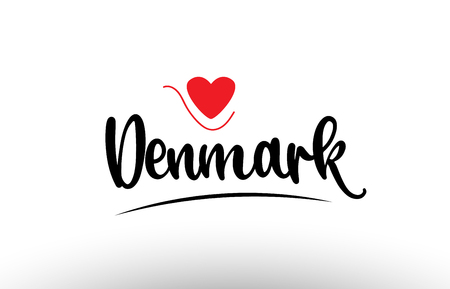Denmark country text with red love heart suitable for a logo icon or typography design Stock Illustratie