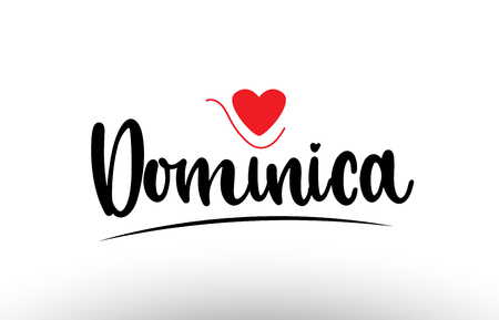 Dominica country text with red love heart suitable for a logo icon or typography design