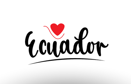 Ecuador country text with red love heart suitable for a logo icon or typography design