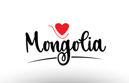 Mongolia country text with red love heart suitable for a logo icon or typography design