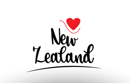 New Zealand country text with red love heart suitable for a logo icon or typography design