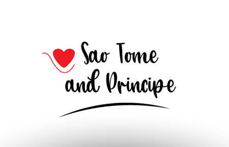 Sao Tome and Principe country text with red love heart suitable for a logo icon or typography design