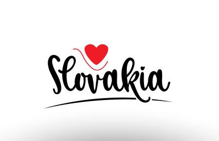 Słowacja kraj tekst z czerwonym sercem miłości nadaje się do ikony logo lub projektu typografii
