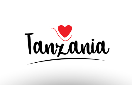 Tanzania country text with red love heart suitable for a logo icon or typography design