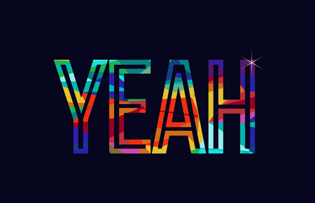 yeah word typography design in rainbow colors suitable for logo or text Illustration