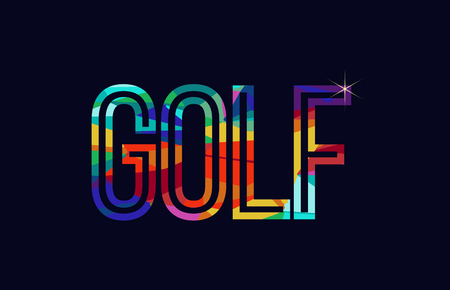 golf word typography design in rainbow colors suitable for logo or text