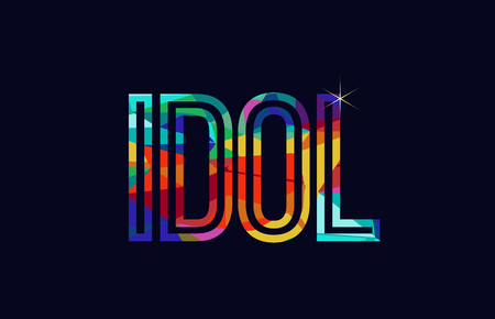 idol word typography design in rainbow colors suitable for logo or text