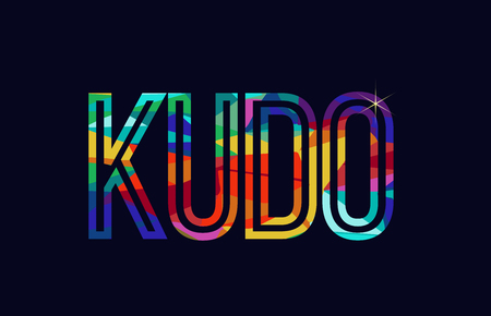 kudo word typography design in rainbow colors suitable for logo or text Illustration