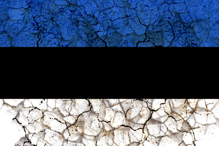 estonia country flag symbol painted on a cracked grungy wall. Concept of drought, hardship, no rain or economic crysis