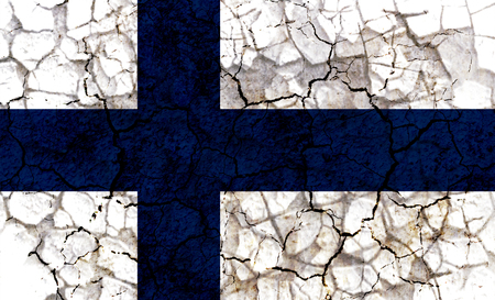 finland country flag symbol painted on a cracked grungy wall. Concept of drought, hardship, no rain or economic crysis Stock Photo