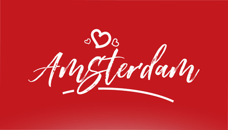 amsterdam white city hand written text with heart on red background for logo or typography design