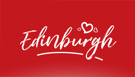 edinburgh white city hand written text with heart on red background for logo or typography design