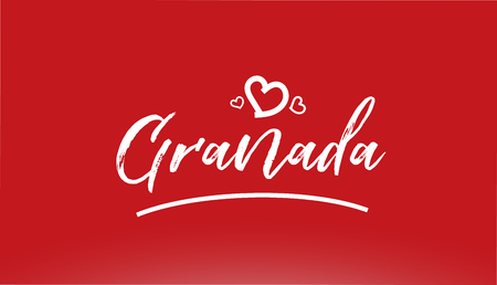 granada white city hand written text with heart on red background for logo or typography design