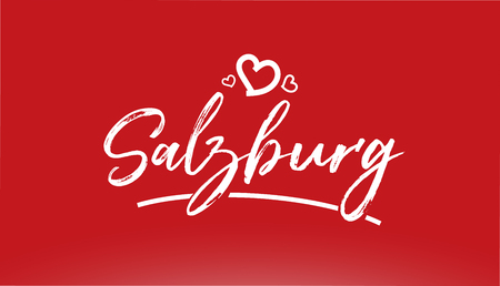 Salzburg white city hand written text with heart on red background for logo or typography design