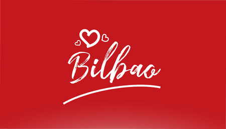 bilbao white city hand written text with heart on red background for logo or typography design