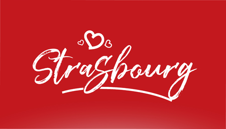 strasbourg white city hand written text with heart on red background for logo or typography design Illustration