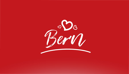 bern white city hand written text with heart on red background for logo or typography design