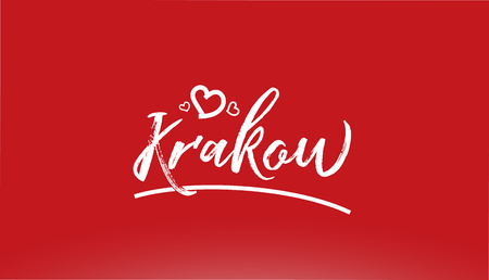 krakow white city hand written text with heart on red background for logo or typography design Иллюстрация