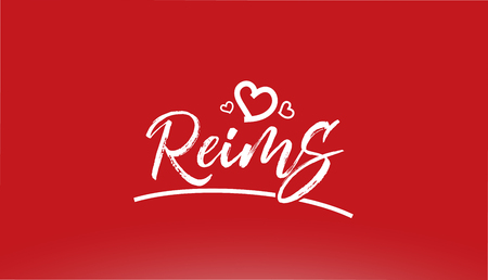 reims white city hand written text with heart on red background for logo or typography design