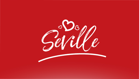seville white city hand written text with heart on red background for logo or typography design