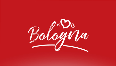 bologna white city hand written text with heart on red background for logo or typography design Vectores