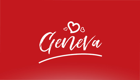 geneva white city hand written text with heart on red background for logo or typography design