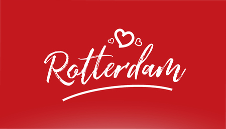 rotterdam white city hand written text with heart on red background for logo or typography design
