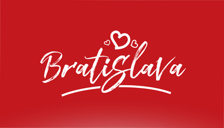 bratislava white city hand written text with heart on red background for logo or typography design Illustration