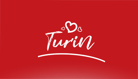turin white city hand written text with heart on red background for logo or typography design Illustration