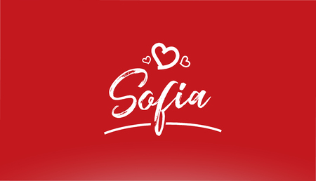 sofia white city hand written text with heart on red background for logo or typography design