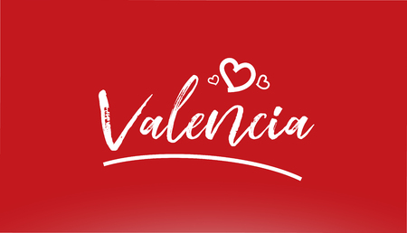 valencia white city hand written text with heart on red background for logo or typography design