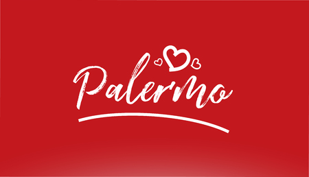 palermo white city hand written text with heart on red background for logo or typography design Illustration