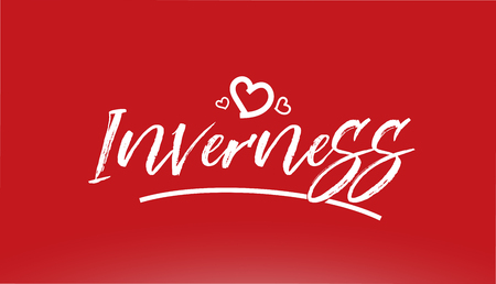 inverness white city hand written text with heart on red background for logo or typography design Illustration