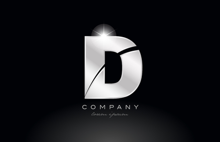silver letter d metal alphabet logo icon design with grey color on black background suitable for a company or business