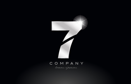 silver metal 7 number logo icon design with grey color on black background suitable for a company or business