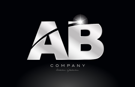 silver letter ab a b metal combination alphabet logo icon design with grey color on black background suitable for a company or business