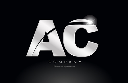 silver letter ac a c metal combination alphabet logo icon design with grey color on black background suitable for a company or business