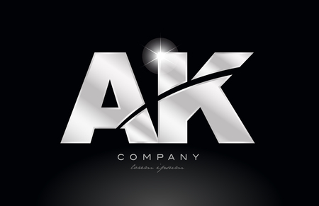 silver letter ak a k metal combination alphabet logo icon design with grey color on black background suitable for a company or business