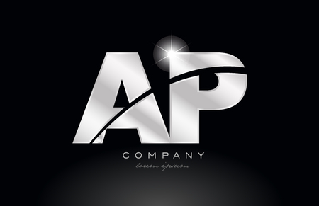 silver letter ap a p metal combination alphabet logo icon design with grey color on black background suitable for a company or business
