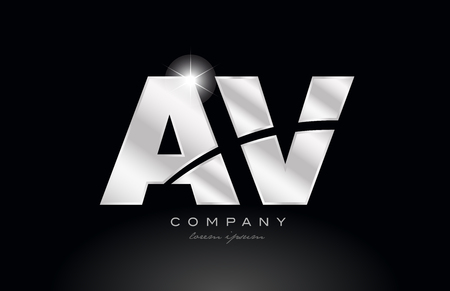 silver letter av a v metal combination alphabet logo icon design with grey color on black background suitable for a company or business Illustration