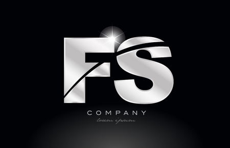 silver letter fs f s metal combination alphabet logo icon design with grey color on black background suitable for a company or business