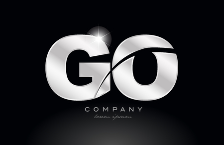 silver letter go g o metal combination alphabet logo icon design with grey color on black background suitable for a company or business Illustration