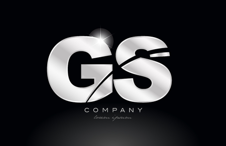 silver letter gs g s metal combination alphabet logo icon design with grey color on black background suitable for a company or business